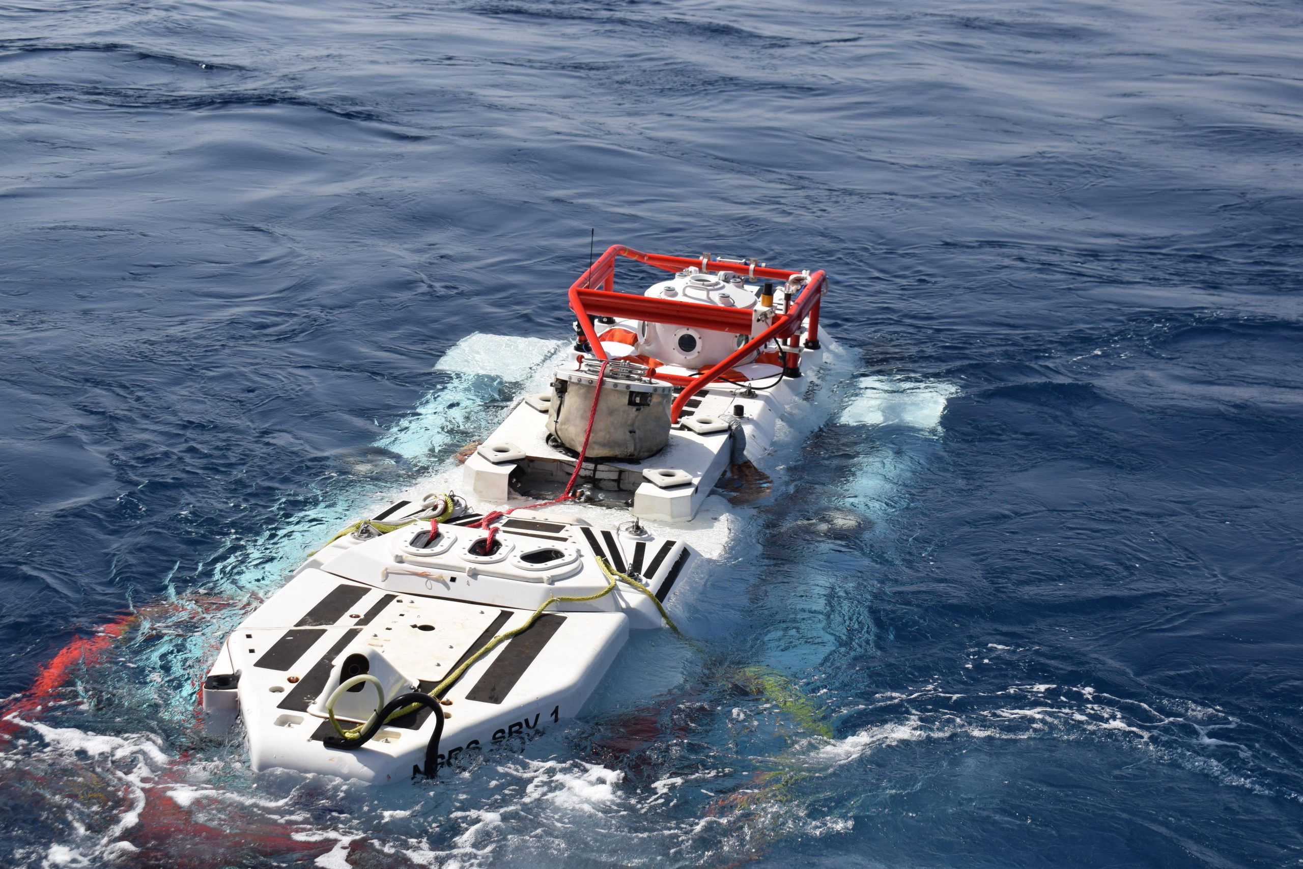 MEDITERRANEAN SEA (Sept. 20, 2017) - The NATO Submarine Rescue System (NSRS) submarine Nemo prepares to make a simulated rescue dive as part of NATO submarine escape and rescue exercise Dynamic Monarch 2017 while off the coast of Marmaris, Turkey. The NSRS mini submarine can dive to depths of 600 meters and connect to the escape hatch on a submarine in order to rescue sailors inside a distressed submarine. NATO photo by Denver Applehans/Released.